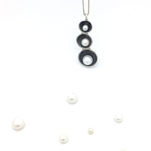 Pendentif argent made in france avec perles nacrées
