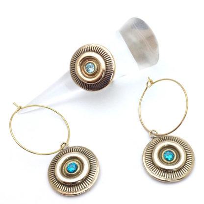 Bague et boucles d'oreille creole bronze
