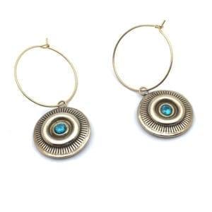 BO creoles rondes bronze et pierre bleue