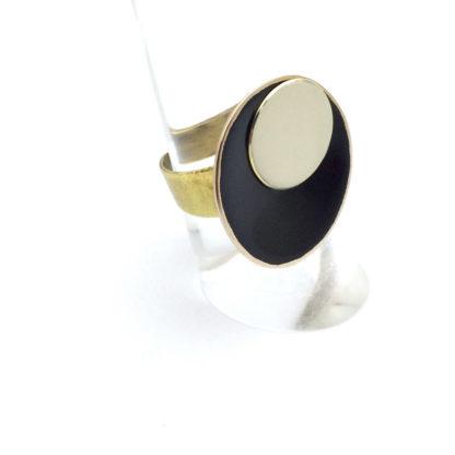 Bague brague bronze sable et ébène anneau réglable fait main