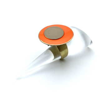 Bague orange et taupe
